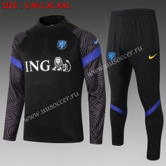2020-2021 Netherlands Black Thailand Soccer Tracksuit Uniform-815