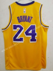 City Version Lakers Yellow #24 With Kobe logo Jersey