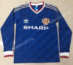 86-88 Retro Version Manchester United  Blue LS Thailand Soccer Jersey AAA-811
