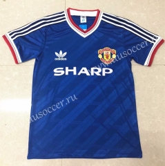 86-88 Retro Version Manchester United Blue Thailand Soccer Jersey AAA-811