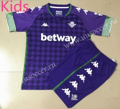 With Adv 2020-2021 Real Betis Away Purple Youth-Kid Soccer Uniform-AY