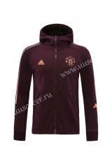 2020-2021 Manchester United Maroon Red Soccer Jacket With Hat-LH