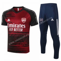 2020-2021 Arsenal Red & Black Shorts Sleeve With Thailand Soccer Tracksuit Uniform-815