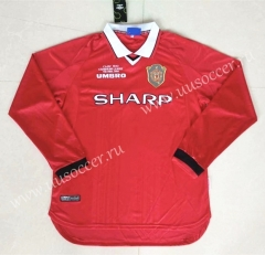 1999-2000 Retro Version Manchester United Home Red LS Thailand Soccer Jersey AAA-422