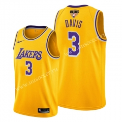 2020 Final edition Lakers NBA Yellow #3 With Final Logo Jersey