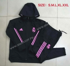 2020-2021 Real Madrid Black Wind Coat Uniform With Hat-815