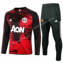 2020-2021 Manchester United Black & Red Thailand Soccer Tracksuit Uniform-815