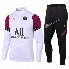 With Adv 2020-2021 Paris SG White Thailand Soccer Tracksuit Uniform-411