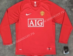 07-08 Retro Version Manchester United Home Red LS Thailand Soccer Jersey AAA-510