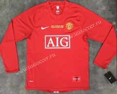 UEFA Champions League 07-08 Retro Version Manchester United Home Red LS Thailand Soccer Jersey AAA-510