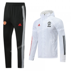 2020-2021 Manchester United White Wind Coat Uniform With Hat-LH