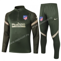 2020-2021 Atletico Madrid Gray & Green Thailand Soccer Tracksuit Uniform-815