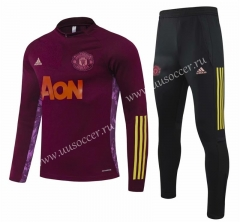 Champions League 2020-2021 Manchester United Maroon Thailand Tracksuit Uniform-GDP
