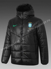 2020-2021 Brazil Black Thailand Coat With Hat-815