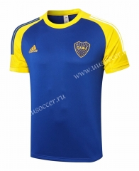 2020-2021 Boca Juniors Blue Thailand Shorts-Sleeve Soccer Tracksuit Top-815