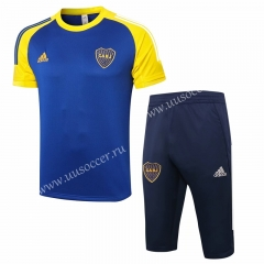 2020-2021 Boca Juniors Blue Thailand Shorts-Sleeve Soccer Tracksuit Uniform-815