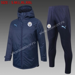 2020-2021 Manchester City Royal Blue Thailand Soccer Coat Uniform With Hat-815