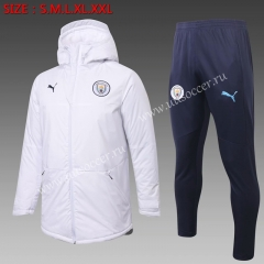 2020-2021 Manchester City White Thailand Soccer Coat Uniform With Hat-815