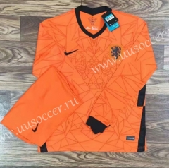2020-2021 Netherlands Home Orange LS Soccer Uniform-709