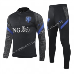 2020-2021 Netherlands Black Thailand Soccer Tracksuit Uniform-GDP