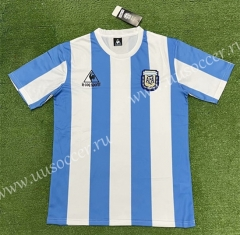 1986 Retro Version Argentina Home Blue and White Thailand Soccer Jersey AAA-403