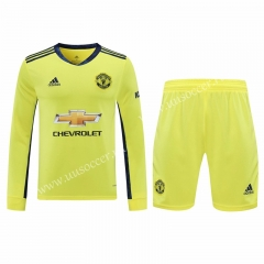 2020-2021 Manchester United Goalkeeper Yellow Thailand LS Soccer Uniform-418