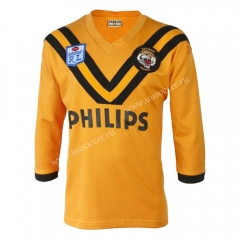 Retro Version Wests Tigers Yellow LS Thailand Rugby Shirt