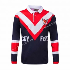 Retro Australia Roosters Red & Blue & White LS Thailand Rugby Shirt