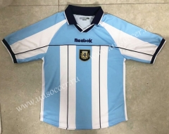 2000-2001 Retro Argentina Home White & Blue Thailand Soccer Jersey AAA-HR