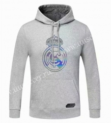 2020-2021 Real Madrid Light Gray Thailand Tracksuit Top With Hat-CS