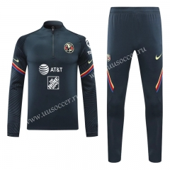 2020-2021 Club América Royal Blue Thailand Soccer Tracksuit Uniform-418
