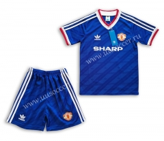 1986 Retro Version Manchester United Blue Youth/Kids Soccer Uniform-C1046
