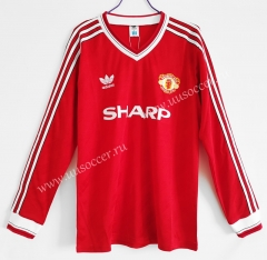 1986 Retro Version Manchester United Home Red LS Thailand Soccer Jersey AAA-C1046