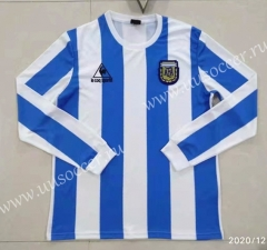 1982 Retro Version Argentina Home Blue & White LS Thailand Soccer Jersey AAA-422