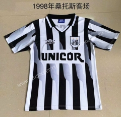 1998 Retro Version Santos FC Away  Black &  White Thailand Soccer Jersey AAA-AY