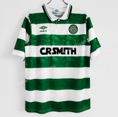 1989-91 Retro Version Celtic Home White & Green Thailand Soccer Jersey AAA-C1046