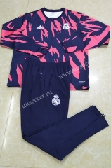 2020-2021 Real Madrid Blue & Red Round Collar Thailand Tracksuit Uniform-411