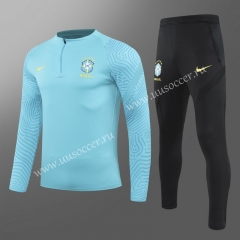 2020-2021 Brazil Light Blue Thailand Soccer Tracksuit Uniform-GDP