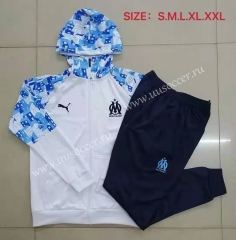 2020-2021 Olympique de Marseille light Blue & White Thailand Soccer Tracksuit Uniform-815