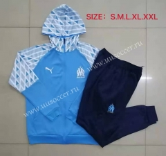 2020-2021 Olympique de Marseille light Blue Thailand Soccer Tracksuit Uniform-815