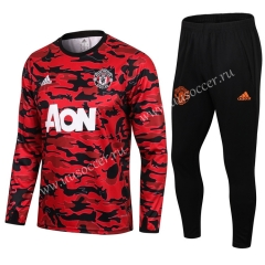 2020-2021 Manchester United Maroon Red Round Collar Thailand Tracksuit Uniform-411