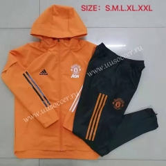 2020-2021 Manchester United Orange Wind Coat Uniform With Hat-815