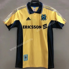 98-99 Retro Version Olympique de Marseille Yellow Thailand Soccer Jersey AAA-811