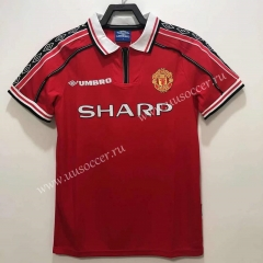 1998 Retro Version Manchester United Home Red Thailand Soccer Jersey AAA-811