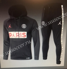 2020-2021 Jordan Paris SG Black Thailand Soccer Tracksuit Uniform With Hat-815