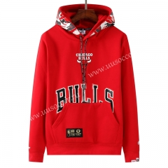 NBA Chicago Bull Red Tracksuit Top With Hat-LH