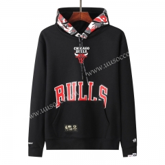 NBA Chicago Bull Black Tracksuit Top With Hat-LH