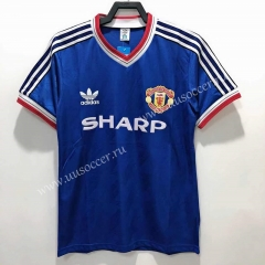 88-86 Retro Version Manchester United Away Blue Thailand Soccer Jersey AAA-811