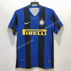 0809 UEFA Champions League Retro Version Inter Milan Goalkeeper Home Blue & Black Thailand Soccer Jersey AAA-811