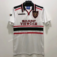 1998 Retro Version Manchester United  Away White Thailand Soccer Jersey AAA-811